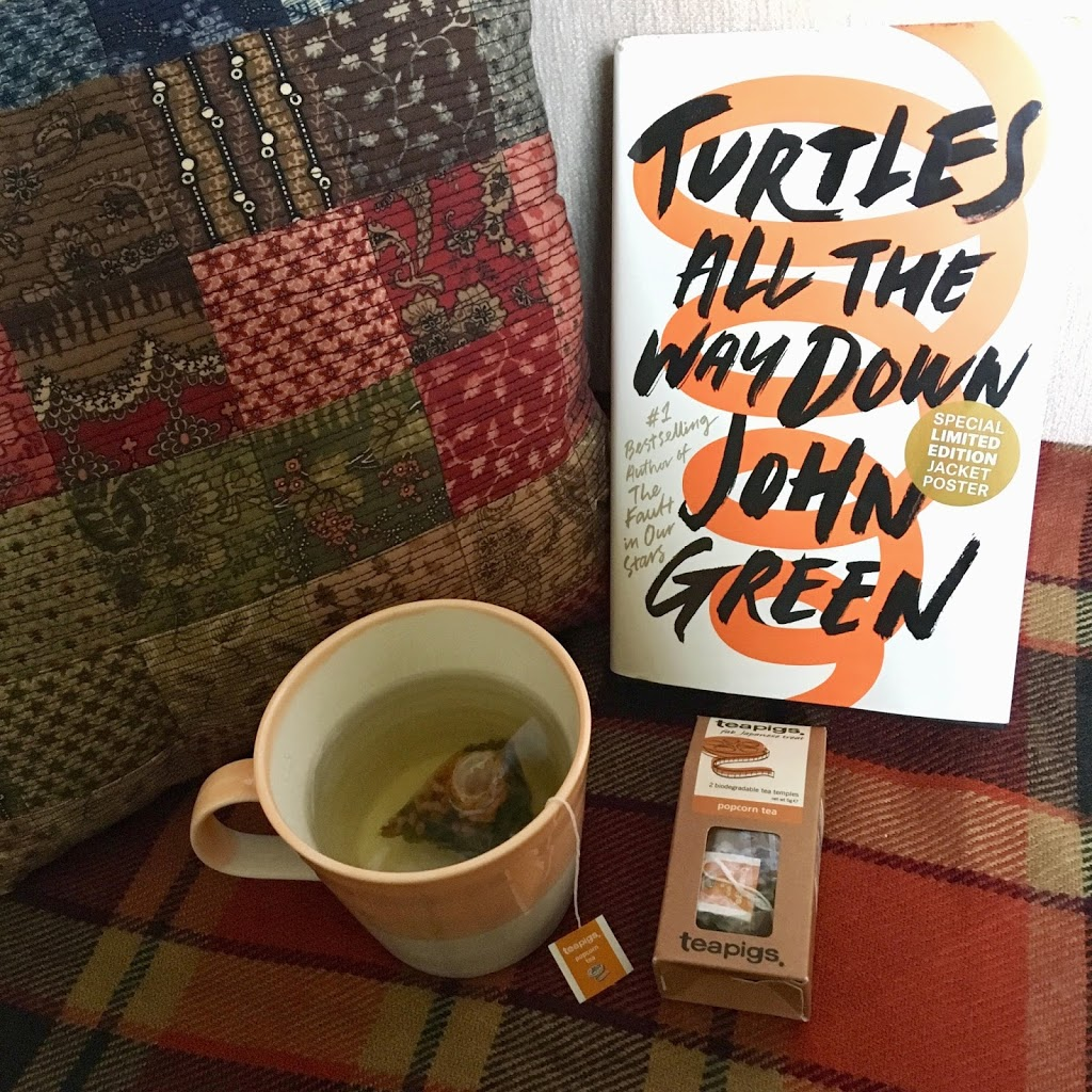 turtles all the way down book cover amongst autumnal scarf and cup of tea