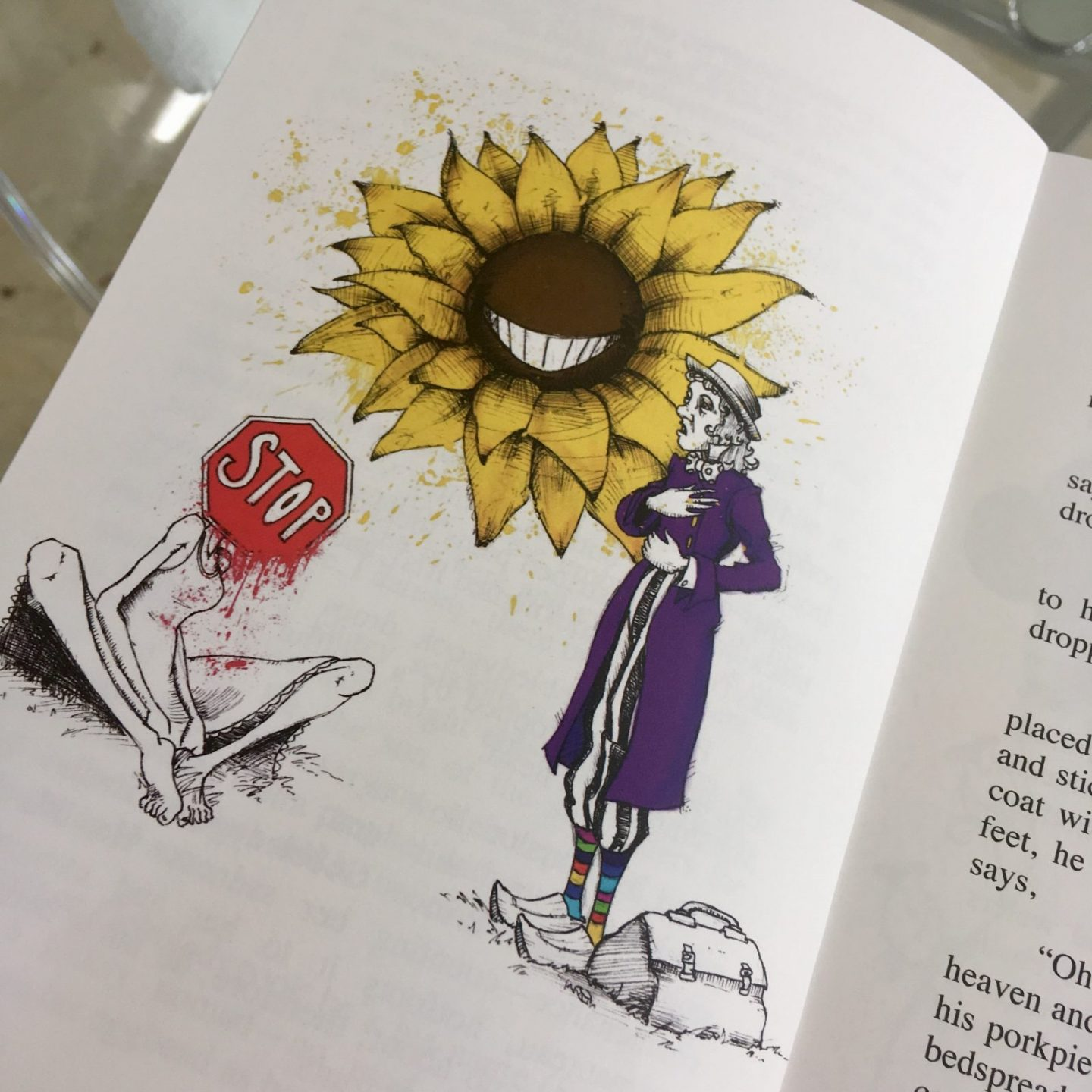 illustrated page of a book featuring a giant sunflower talking to a crouched woman with a stop sigh for a head