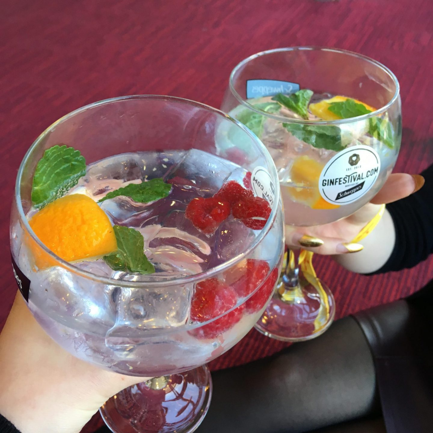 two big glasses of gin embellished with fruit and mint