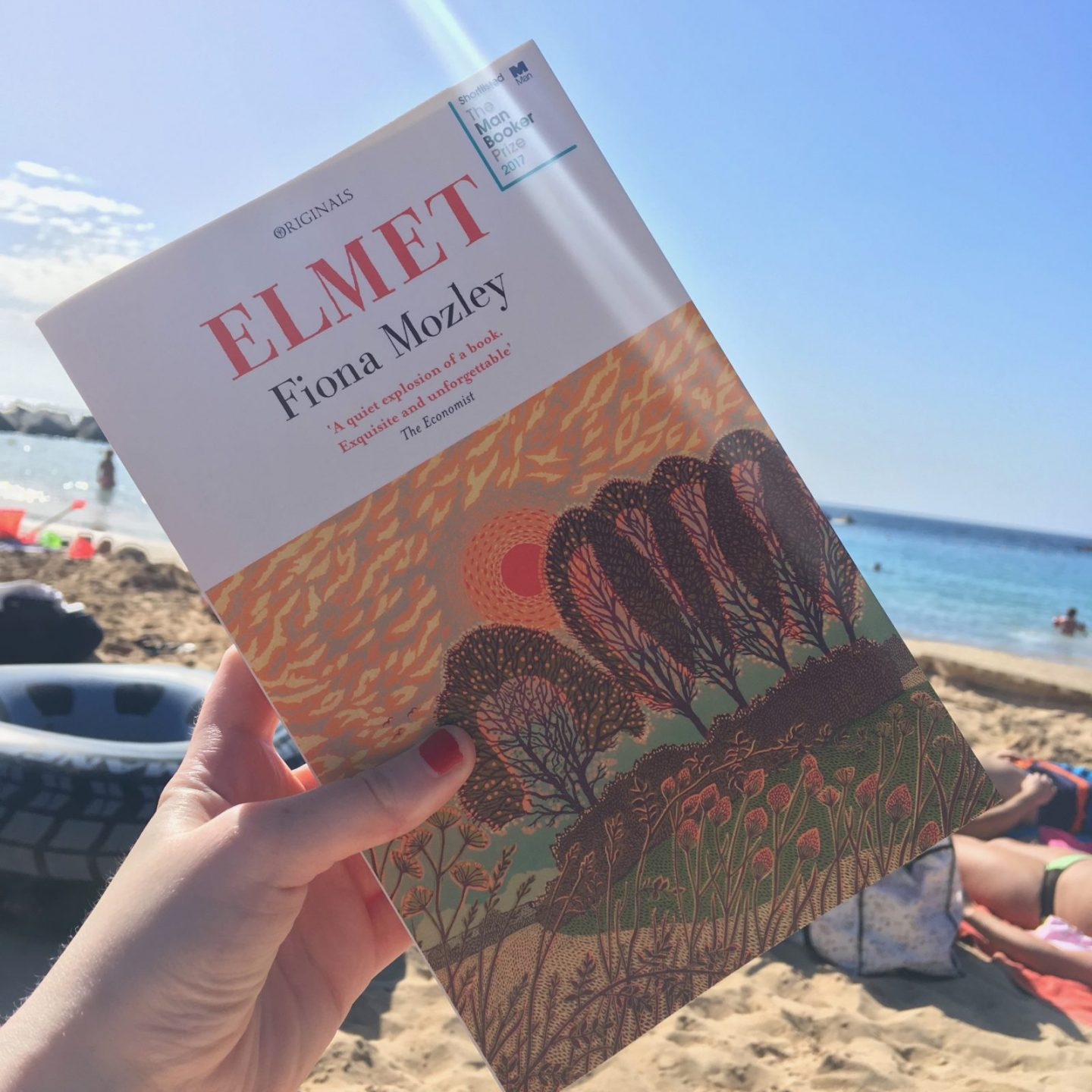 paperback cover of 'elmet' by fiona mozley, with beach and sea in the background