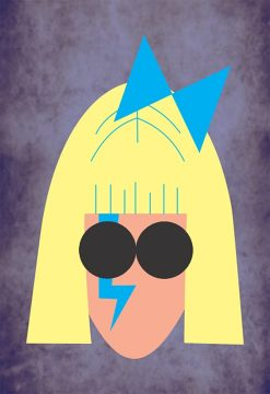 illustrated headshot image of lady gaga feeaturing blonde hair, blue bow and lightening strike face paint, and sunglasses