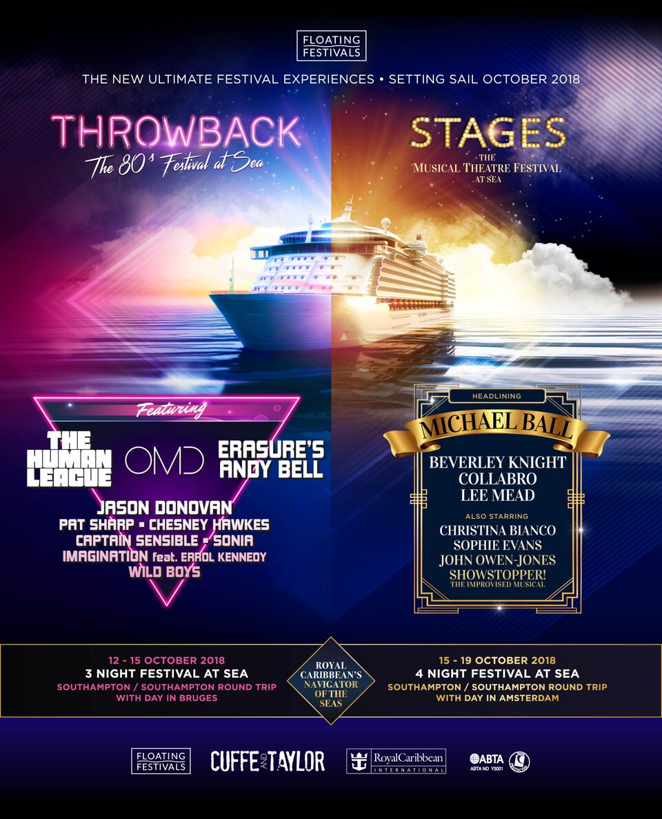 poster advert reading 'throwback at sea' on the left, and 'stages at sea' on the right, with an image of a cruise ship