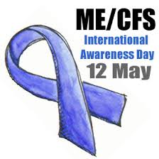 image graphic of an illustrated blue ribbon, reading 'me/cfs international awareness day, 12th may'