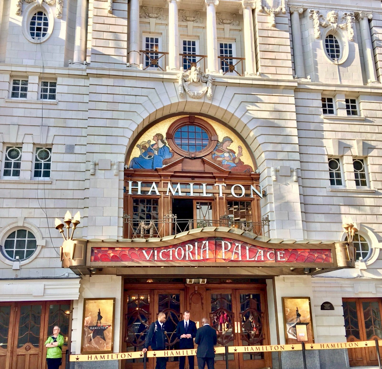 victoria palace theatre with hamilton sign outside
