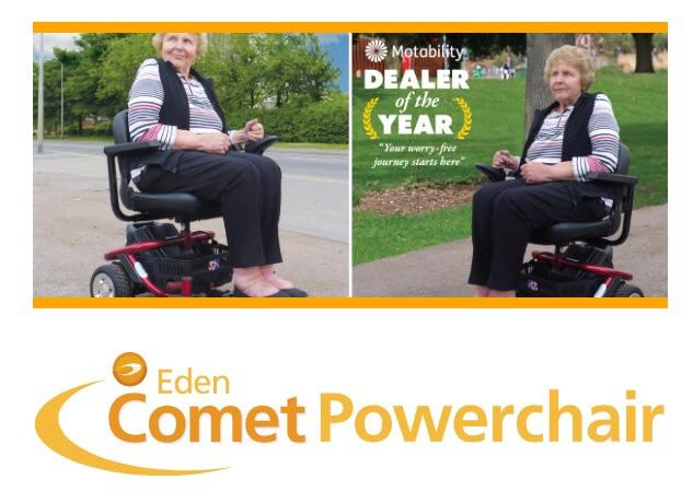 screenshot from eden mobility website of an elderly woman modelling powerchair
