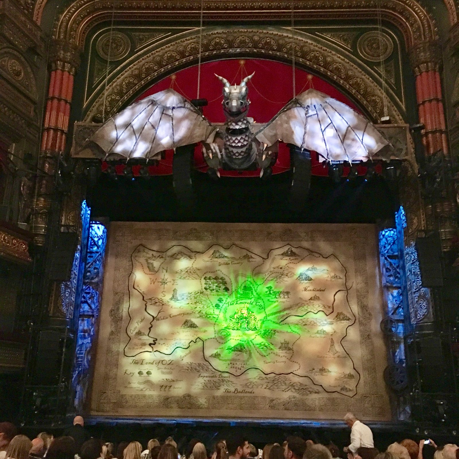 wicked set and backdrop on stage at leeds grand theatre
