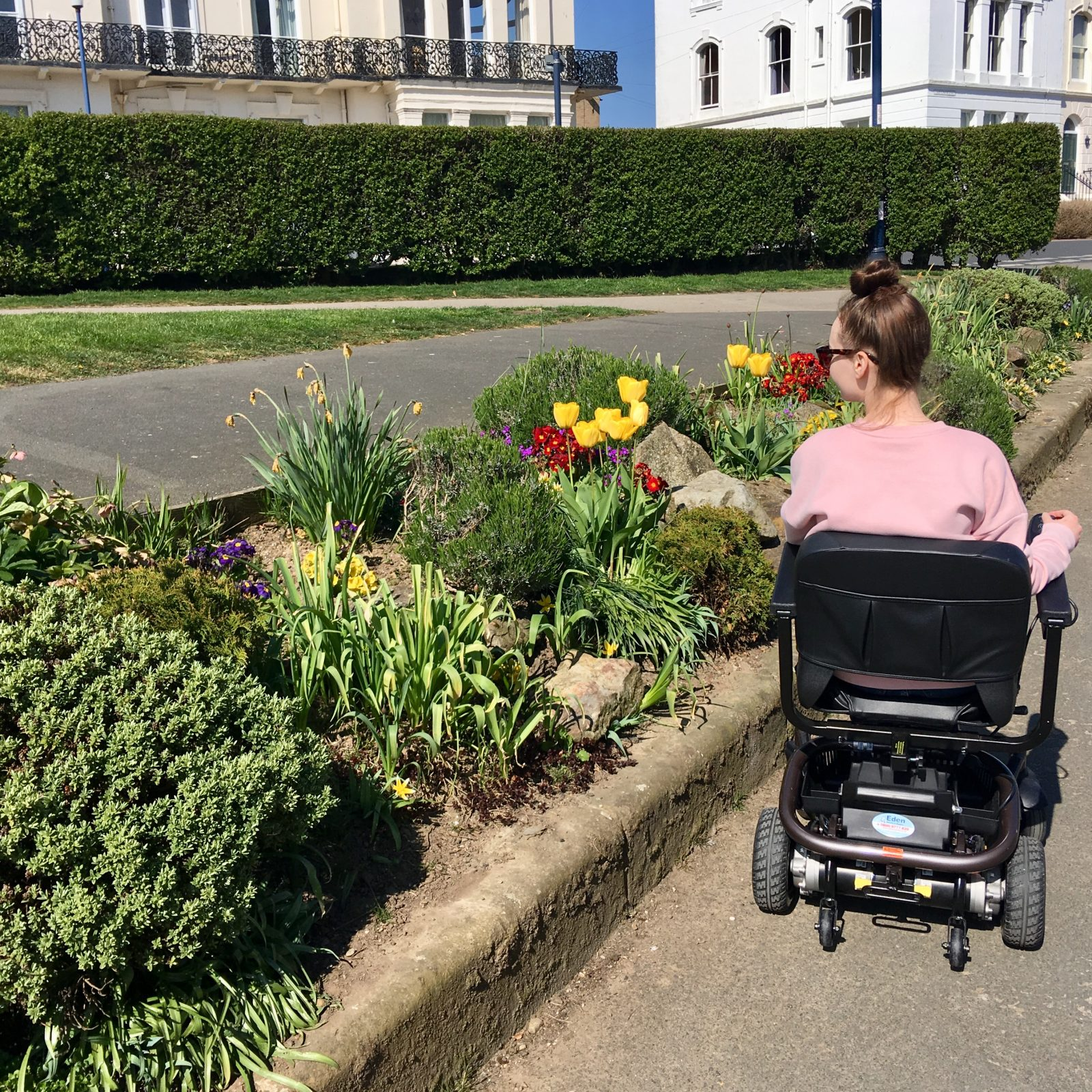 pippa in powerchair with back to camera, looking at colourful flowers along side of path