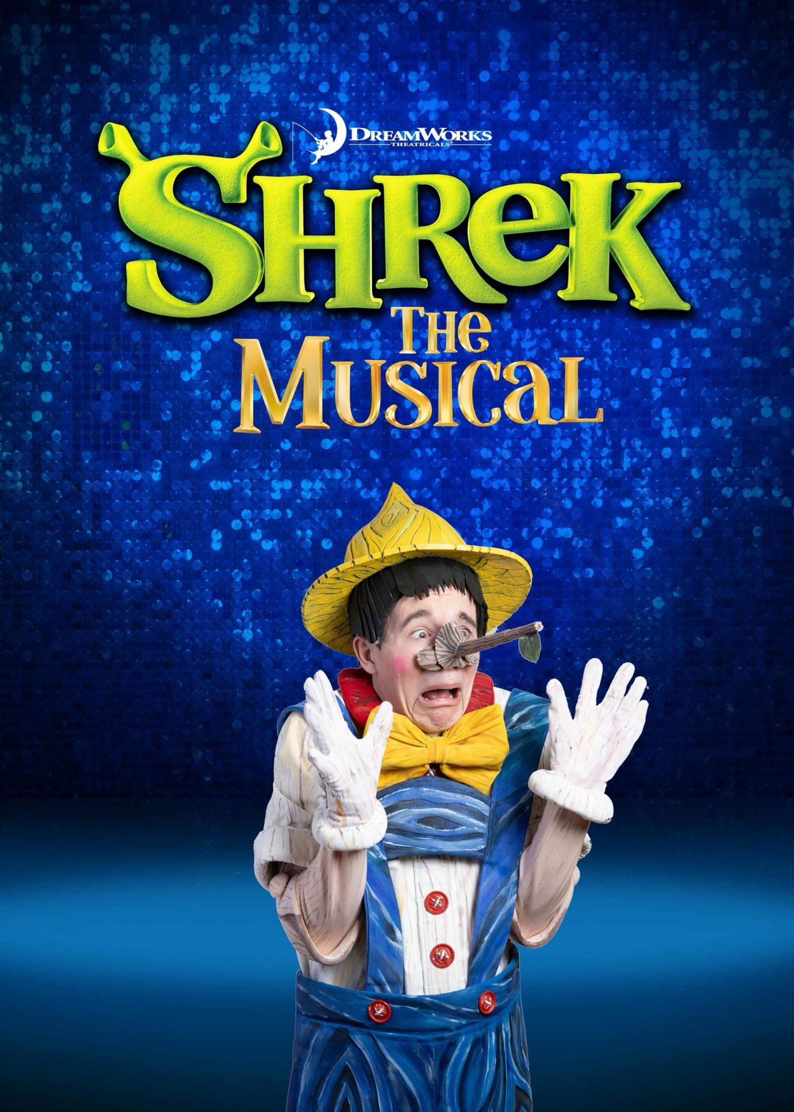 promotional shrek the musical poster featuring pinnochio holding hands up and looking shocked