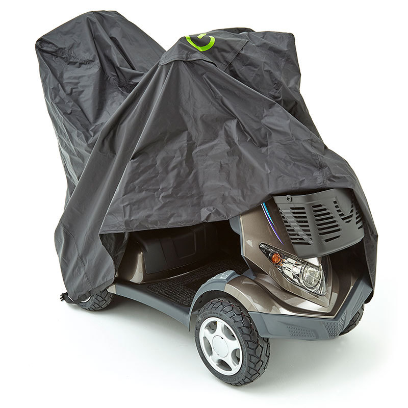 careco outdoor protective sheet in black, draped over mobility scooter