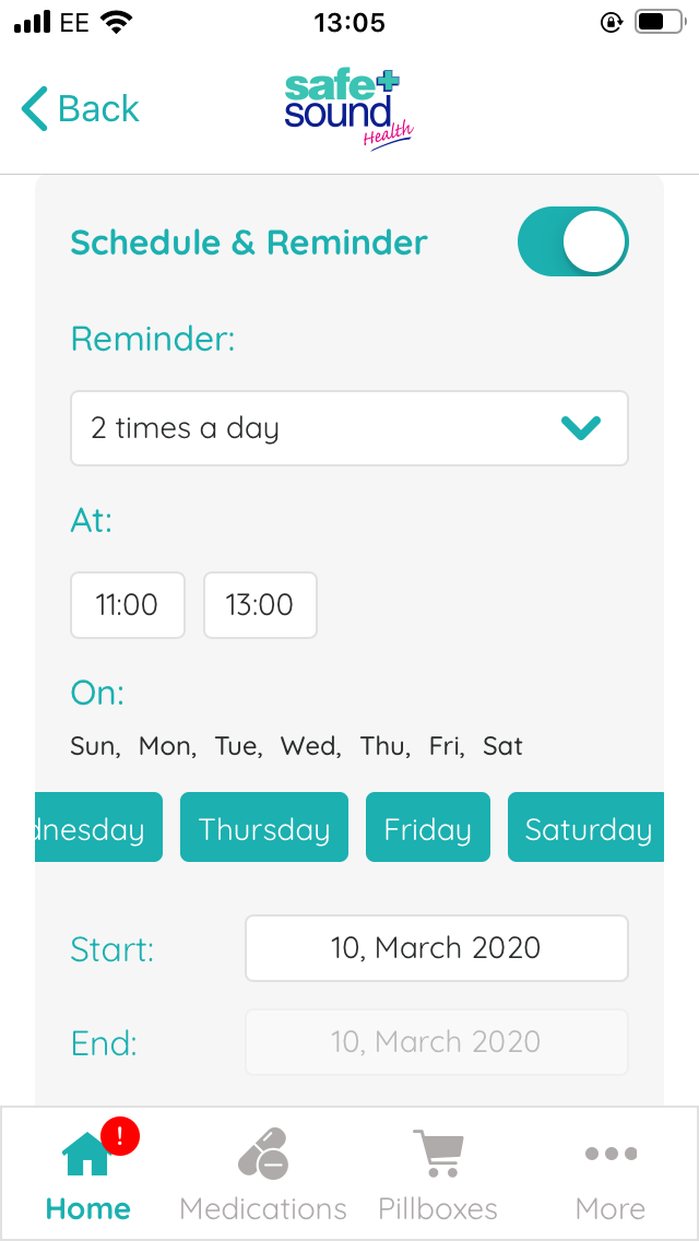 screenshot from safe and sound app, featuring pill reminder setting requesting info on medication dosage, times, and days