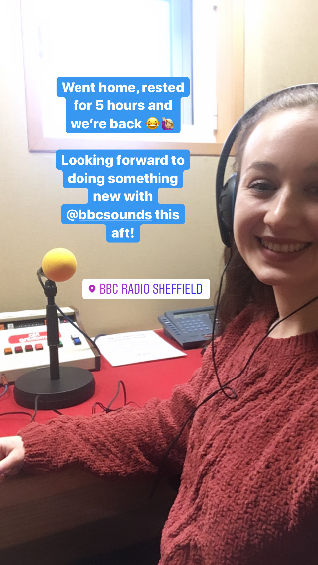 screenshot of instagram story, featuring pippa at recording booth tagged as bbc radio sheffield, wearing headphones and smiling whilst taking selfie