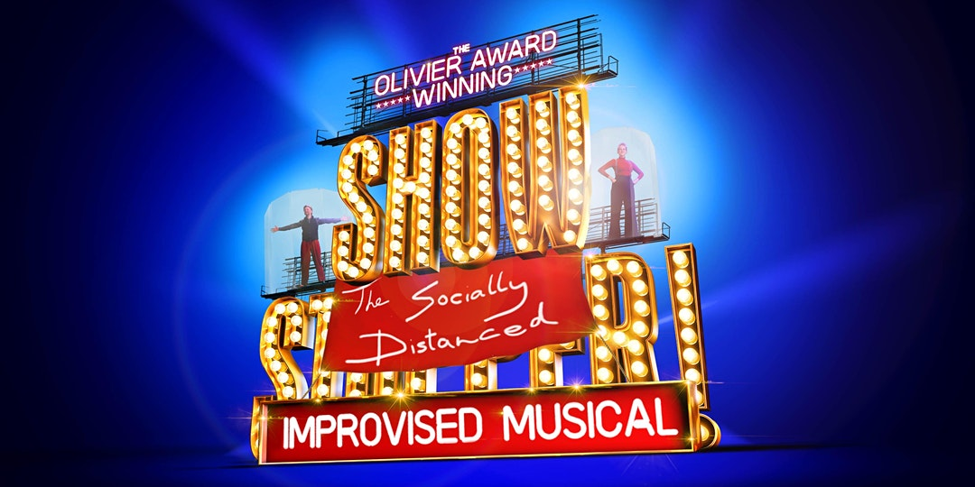 showstopper logo on blue background with banner reading 'the socially distanced musical' hung over the top of it