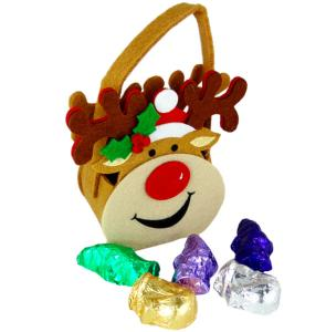 stock image of d&d's felt reindeer bag full of individually wrapped chocolate shapes
