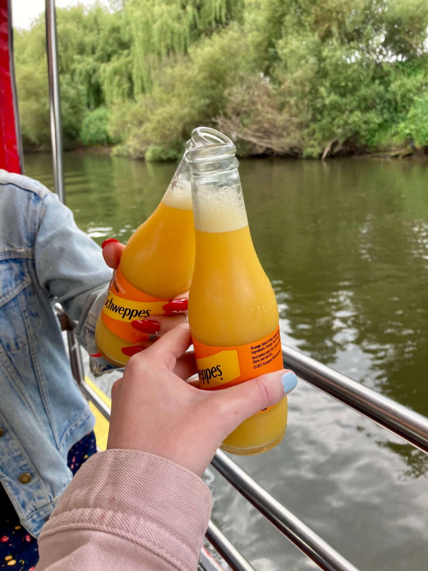 pippa and izzy's hands each holding bottled orange juice in a 'cheers' position, river and greenery visible in background